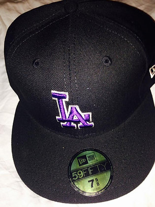 Dodgers Hat Fitted 5950 Hat Black with Purple LA