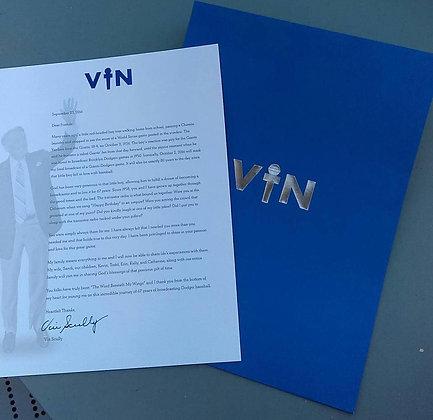2016 SGA Dodgers Retirement Letter for Vin Scully