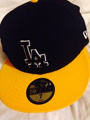 Dodgers 5950 Fitted Hat Yellow Brim and Black LA