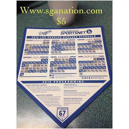 2016 Dodger Magnet Schedule From Spring Training