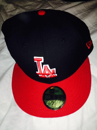 Dodgers Fitted Hat 5950 Red Brim with Red LA