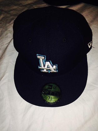 Dodgers Fitted Hat 5950 Black with Cyan LA