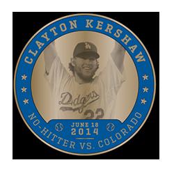 2017  Dodgers Clayton Kershaw Greatest Coin SGA