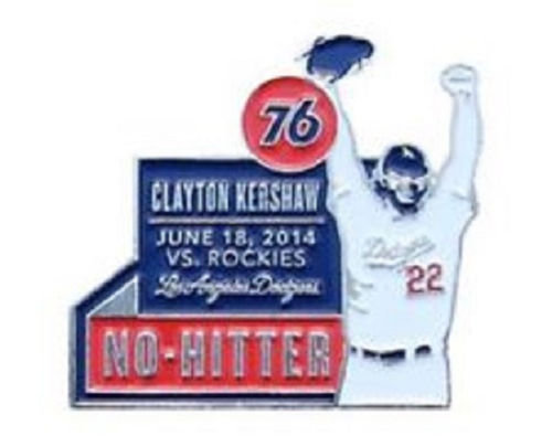2014 SGA Dodgers Clayton Kershaw No Hitter Pin NEW