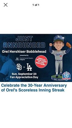 2018 Orel Hershiser Dodgers Bobblehead new