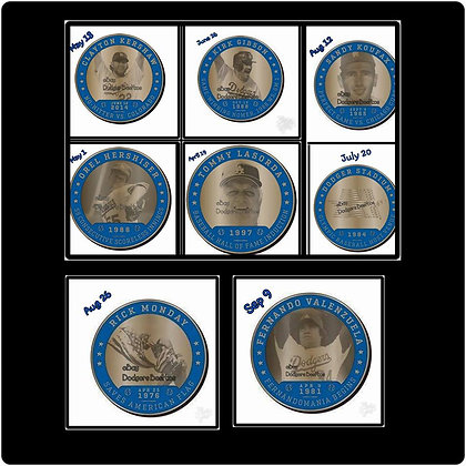 2017 SGA DODGERS  All 8 set  Greatest Moments Coin