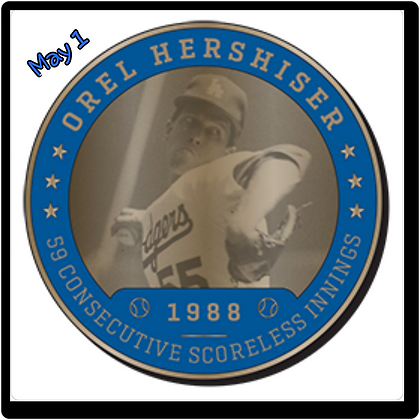 2017 Dodgers Orel Hershier Coin May 1