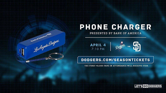 2017  Los Angeles Dodgers Phone Charger SGA