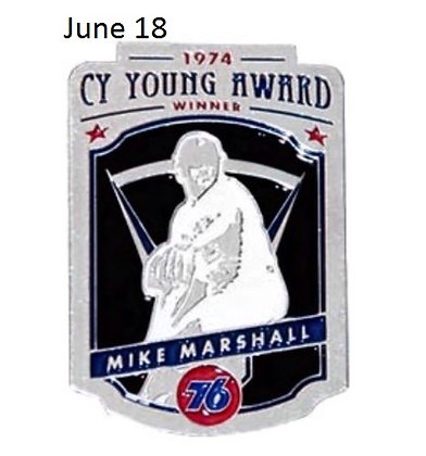 2015 SGA Dodgers Pin Mike Marshall June 18 New