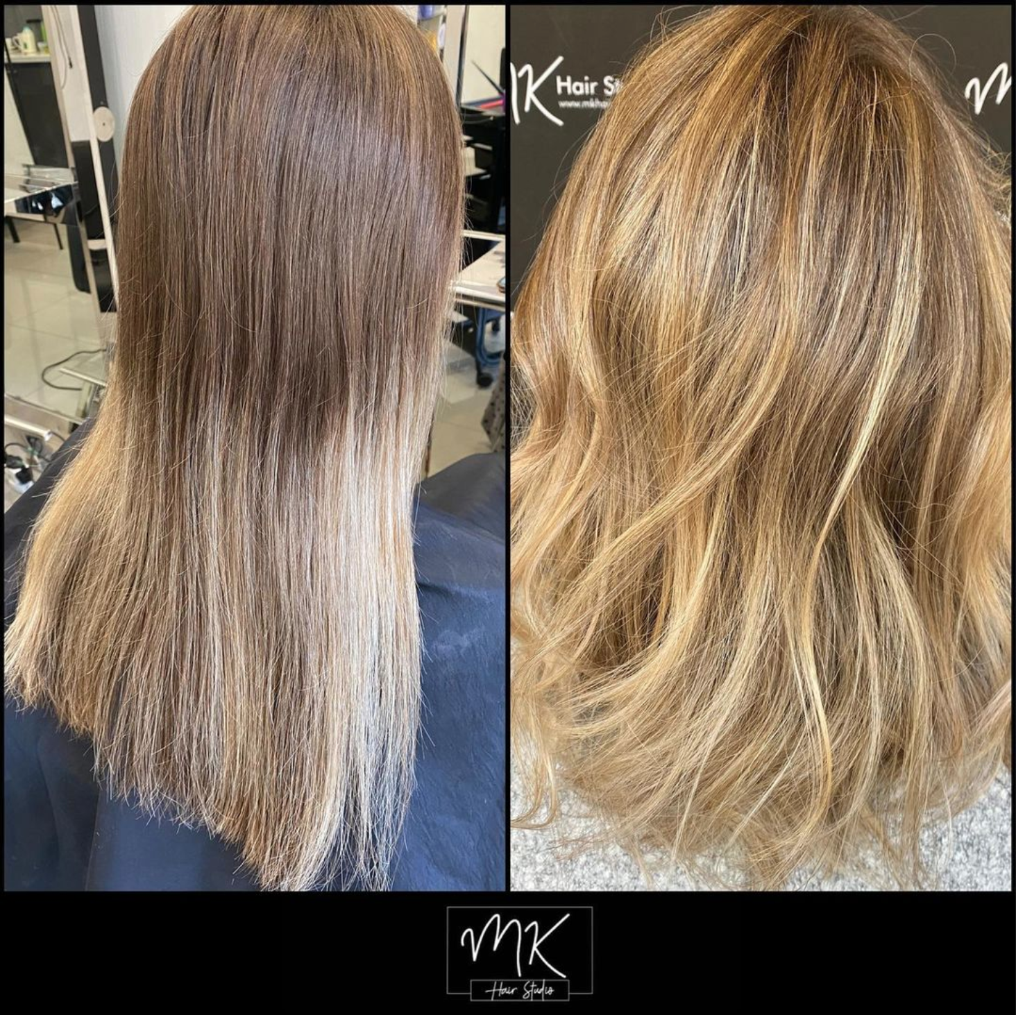 Before & after - Natural blonde Sombre