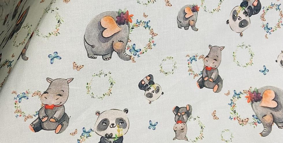 Pandas, Hippos & Elephants Blue Booties