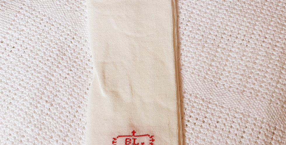 Cream with Red Pattern Leg Warmers