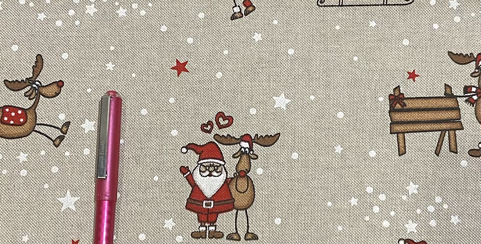 Santa and his reindeers on Canvas Bar Cover