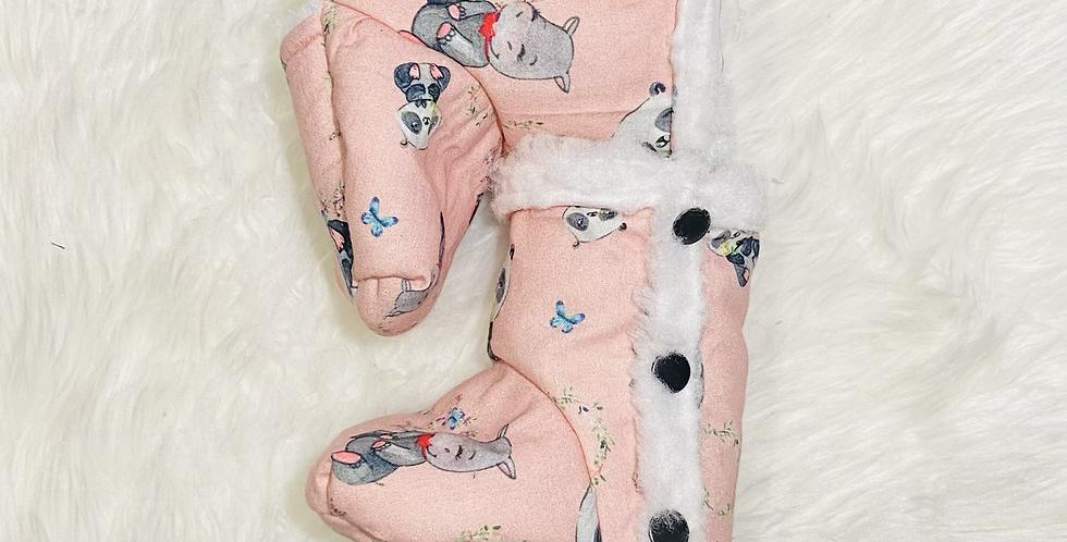 Pandas, Hippos & Elephants Pink Booties
