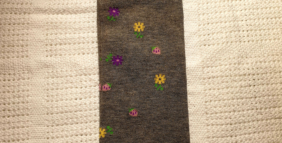 Flowery Gray Leg Warmers