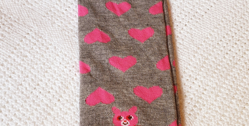 Pink Love Hearts on Gray Leg Warmers