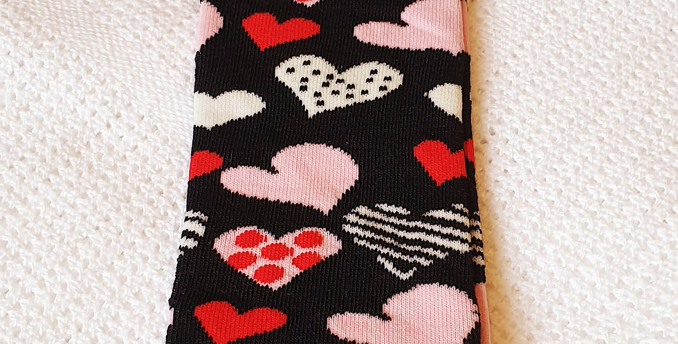 Pretty Love Hearts on Black Leg Warmers
