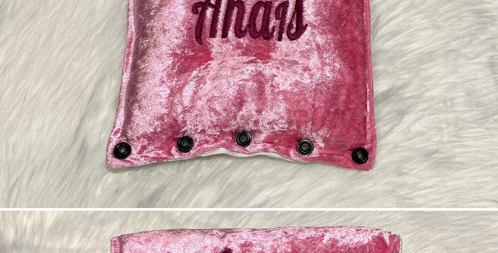 Baby Pink Crushed velvet Bar Cover