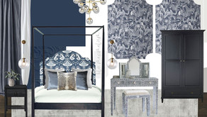 Blue Maximalist Bedroom Scheme | Shop 'Interior Design Masters' Episode 3