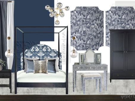 Blue Maximalist Bedroom Scheme | Shop 'Interior Design Masters' Episode 3