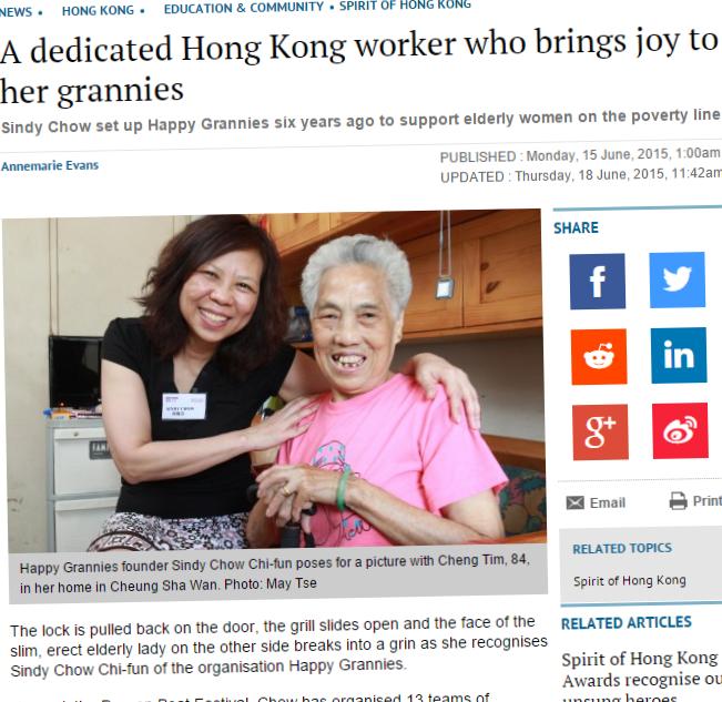 [SCMP] A dedicated Hong Kong worker who brings joy to her grannies