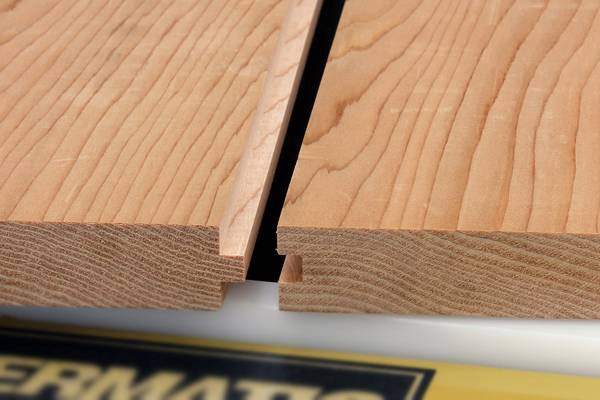 Solid hardwood planks with tongue and groove