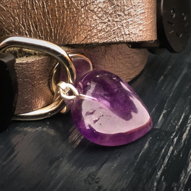 Gemstone Cat Collar Silver Leather