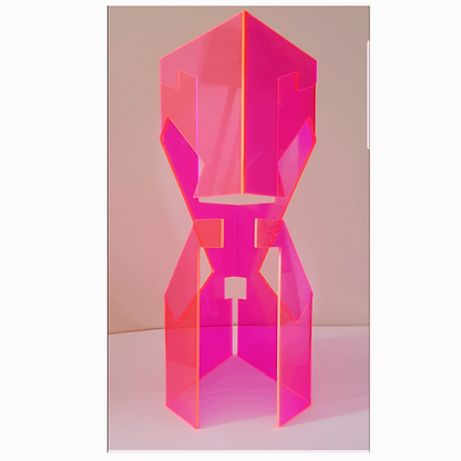 Pink transparent structure opened by a d