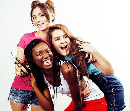 diverse multi nation girls group, teenag