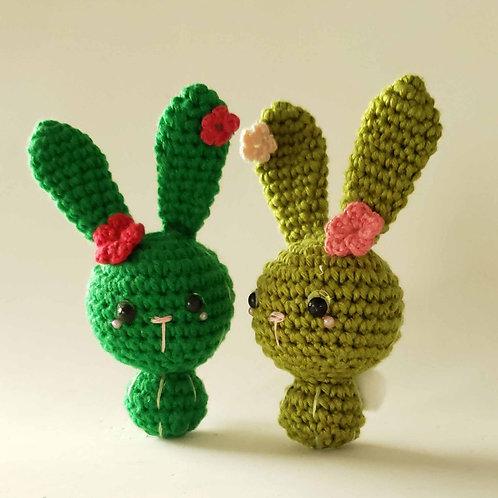 Mini Coelho Cactus - amigurumi