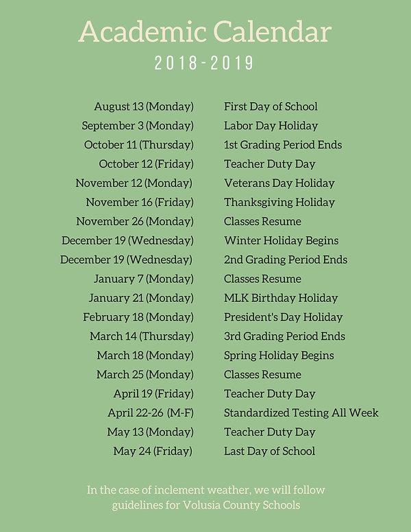 Academic Calendar The Children S House Montessori School