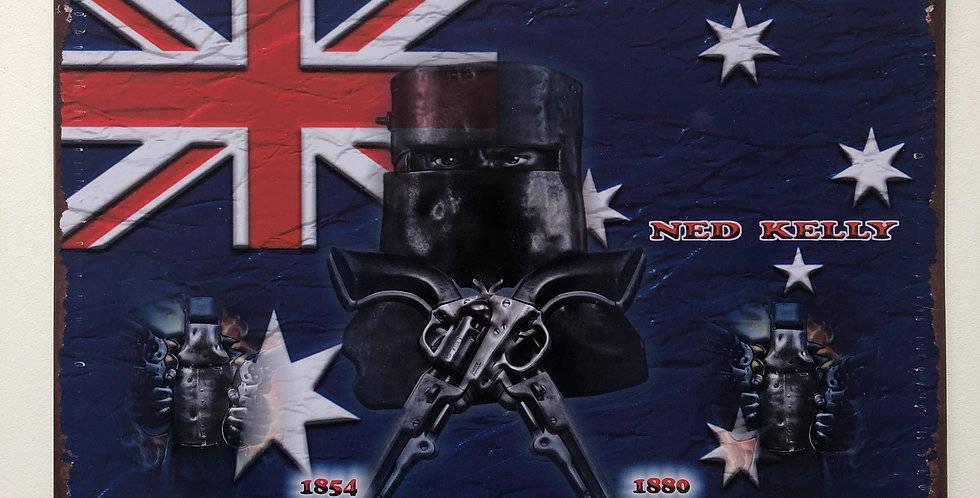 Ned Kelly Metal Sign Australia Flag
