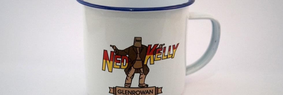 Ned Kelly Enamel Mug White