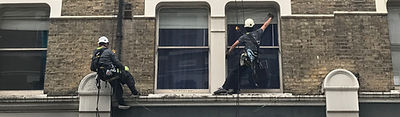 Abseiling building cleaning