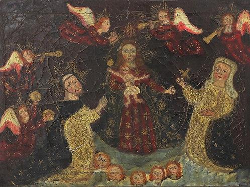 La vierge à l'enfant aux anges musiciens XVIIIe siècle