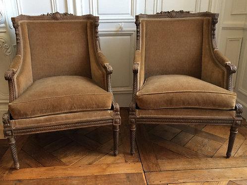 Paire de fauteuils Louis XVI époque XIXe siècle
