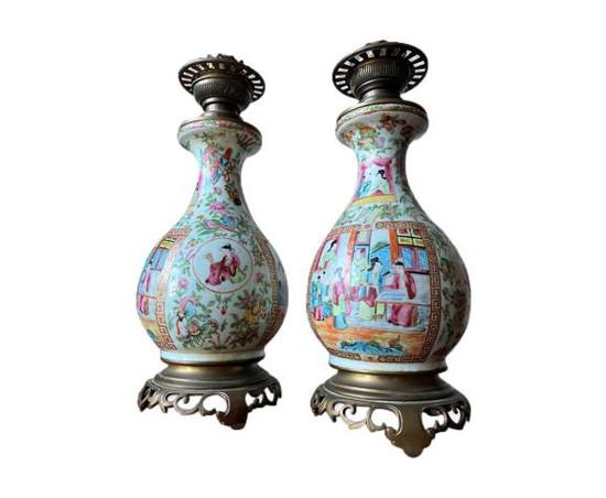 Période Guangxu paire de lampes en porcelaine de Chine