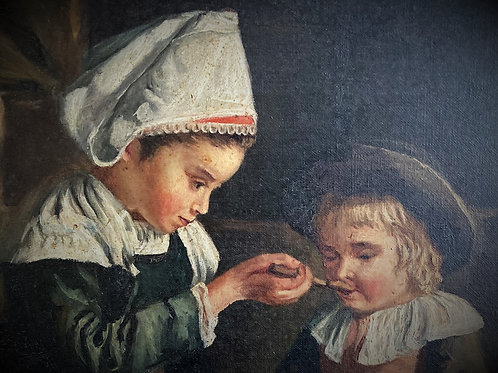 Tableau d'après Emma Herland (1855-1947) Le déjeuner du petit Potic