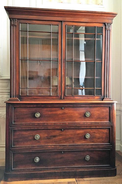 Commode bibliothèque époque victorienne acajou XIXe siècle