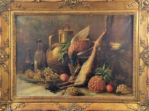 E. EOVRE école flamande du XIXe siècle huile sur toile nature morte aux gibiers