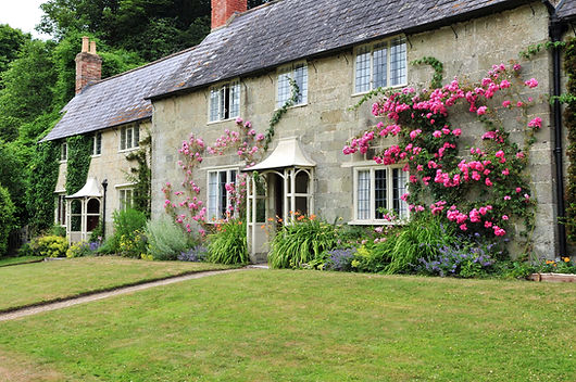Stone, gray brick Country House, Pink flowers growing on house