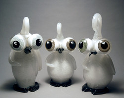 Trio of black and white loveguins