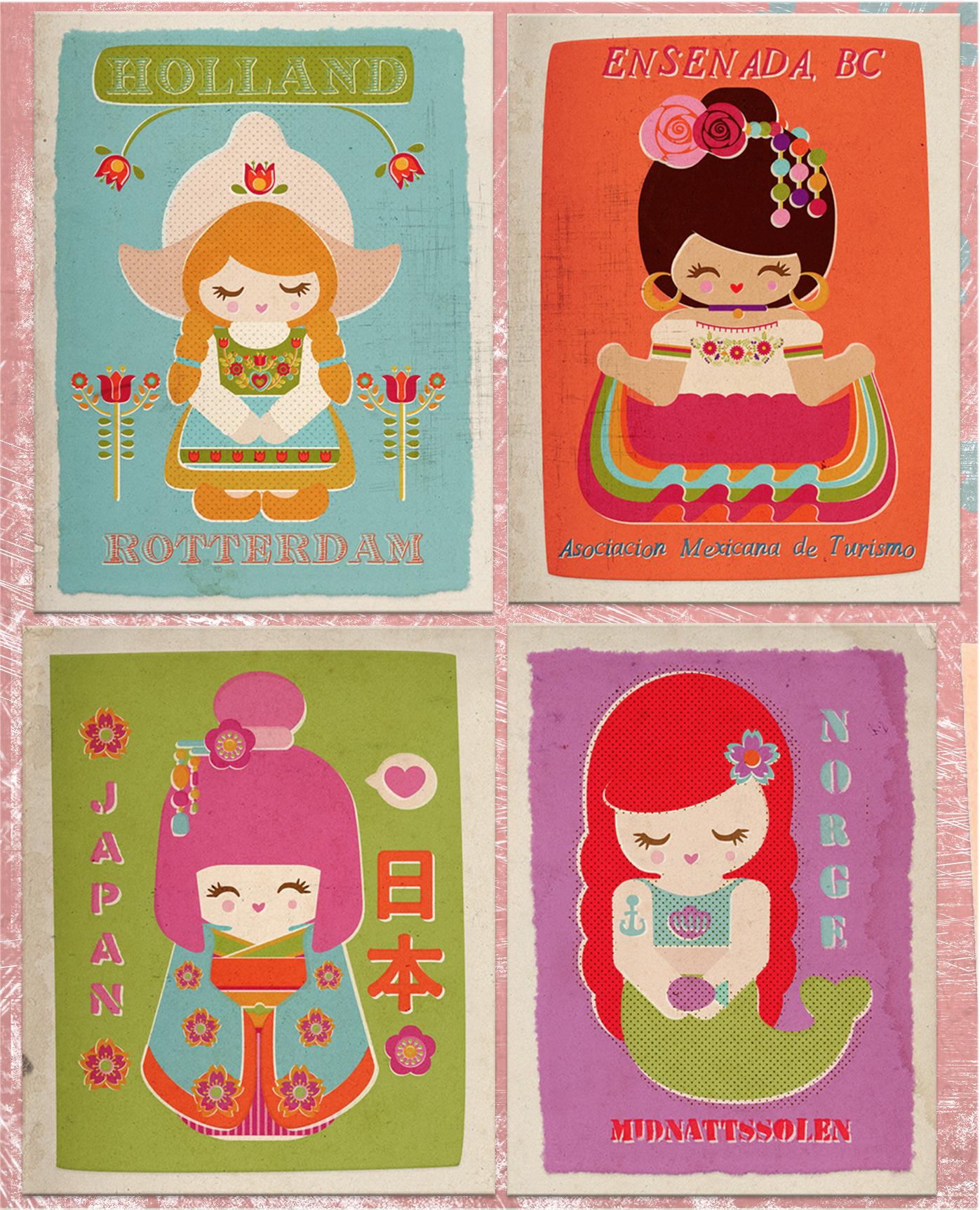 Dolls world postcards