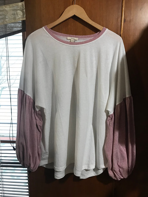 White Blouse with Blush Sleeves