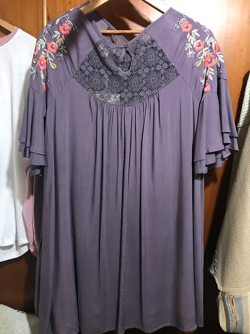 Purple Dress With Floral Sleeves