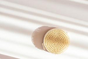 Dry massage brush made of natural materi