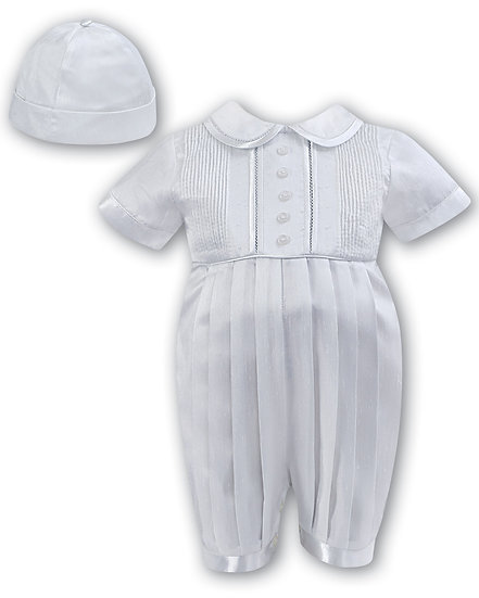Sarah Louise Boys Christening Suit 002232 Short Sleeve White
