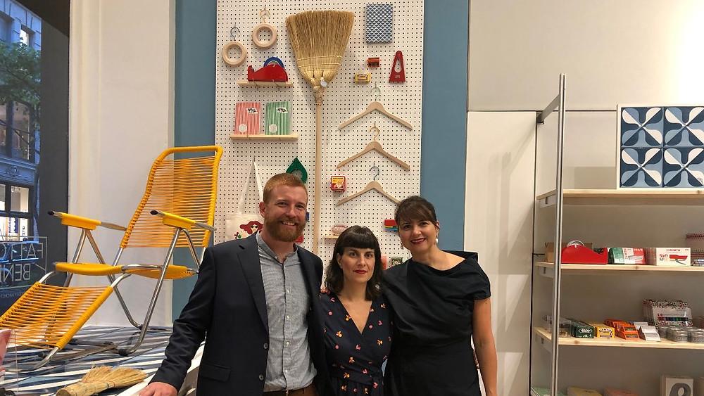 Alex Carnevali, Anna Lagorio e Federica Toscanini al pop-sup shop di Fattobene al Design Store del MoMa di Soho.