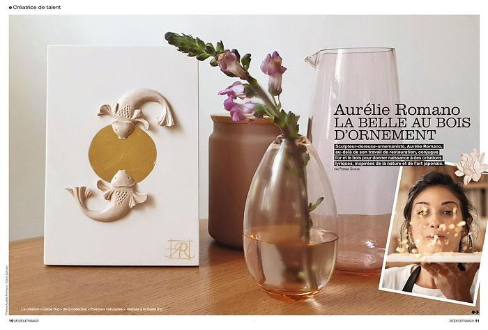 Article de presse magazine modes et travaux creatrice de talent Aurélie ROMANO