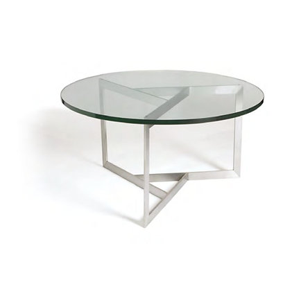 Satin Brushed Triangle Base Glass Cocktail Table